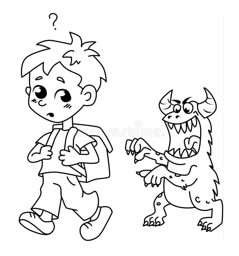 Furchtsames Monster folgt dem Jungen Versuchen, ihn zu erschrecken lizenzfreies stockfoto