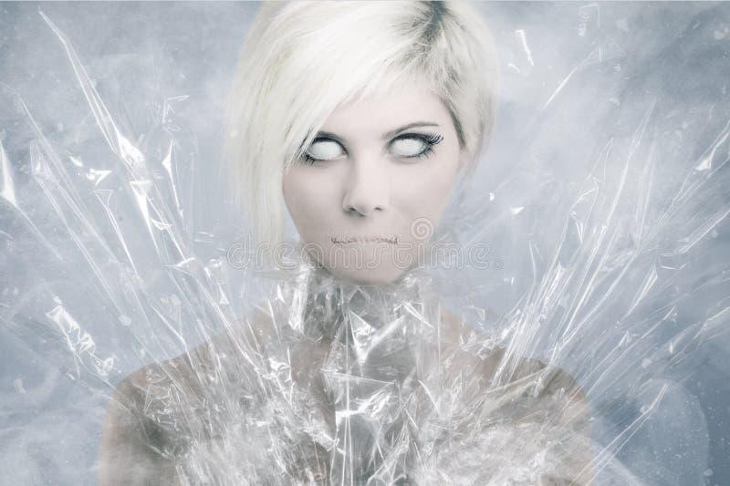 Furchtsames psychedelisches Frauen-Gesicht lizenzfreies stockfoto