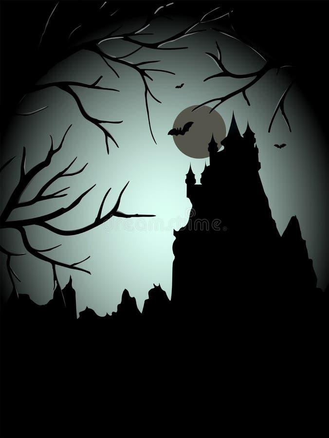 Furchtsames Schloss Halloweens thiw der Mond vektor abbildung
