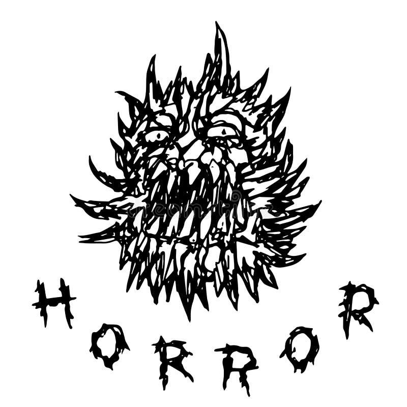 Furchtsames stacheliges Monster mit toothy Mund Auch im corel abgehobenen Betrag lizenzfreie abbildung