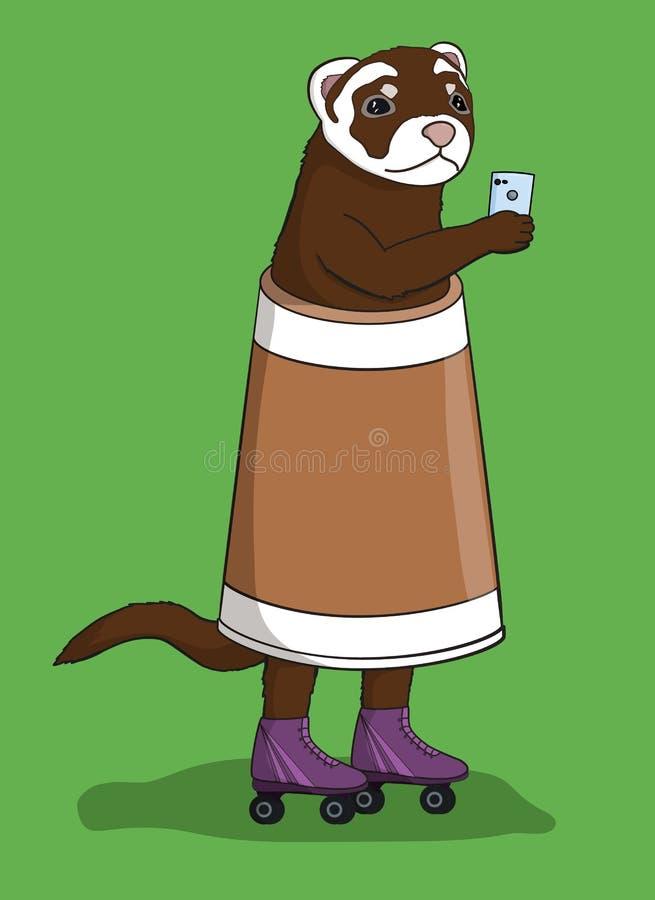 Furetto con il telefono cellulare, vestito in una tazza di caffè illustrazione di stock