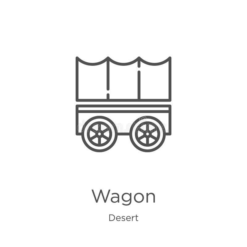 furgon ikony wektor od pustynnej kolekcji Cienka kreskowa furgonu konturu ikony wektoru ilustracja Kontur, cienieje kreskową furg ilustracja wektor