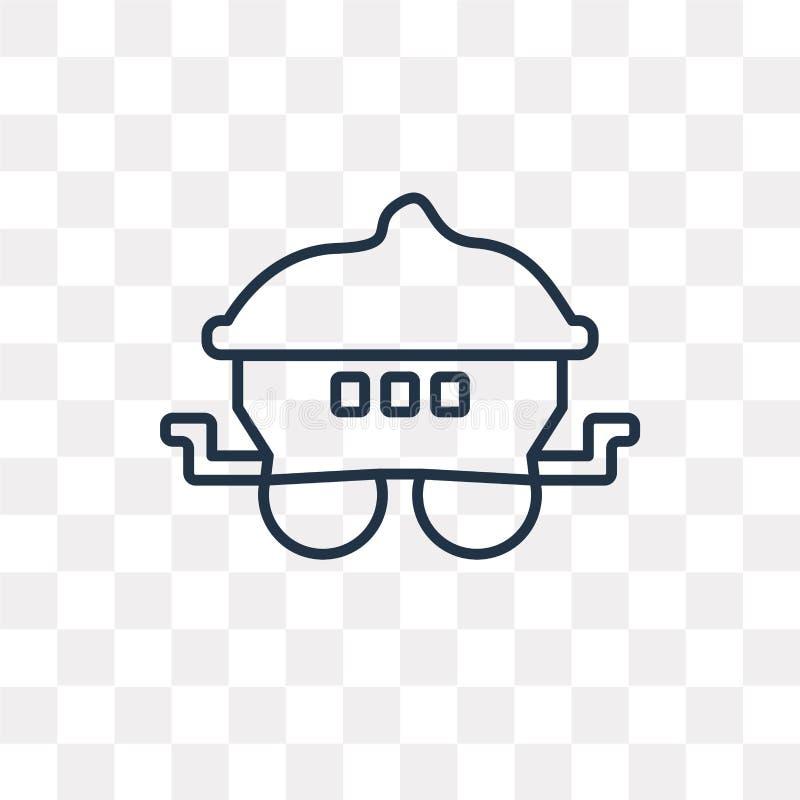 Furgon wektorowa ikona odizolowywająca na przejrzystym tle, liniowy facecjonista ilustracja wektor