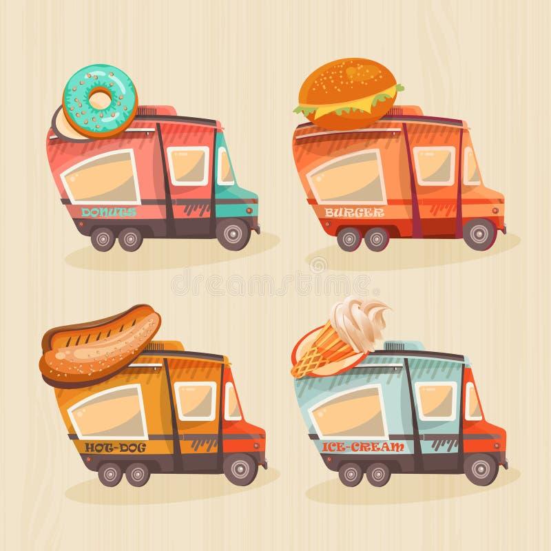 Furgone dell'alimento della via nel retro stile illustrazione di stock