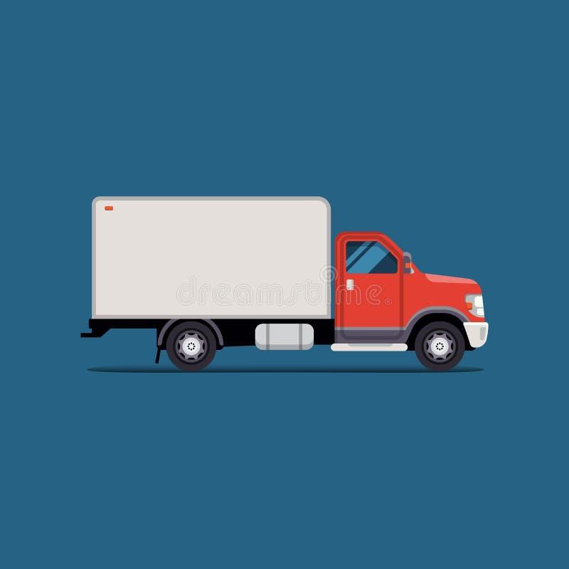 Furgone di consegna piano moderno dell'illustrazione di vettore Isolato del veicolo industriale Assista l'icona illustrazione vettoriale