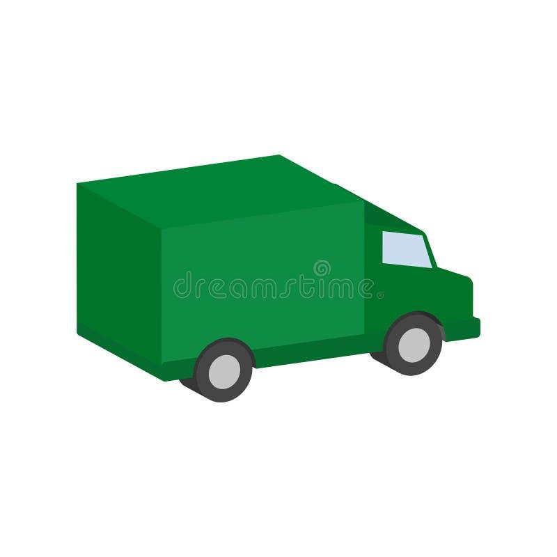 Furgone di consegna, simbolo del veicolo industriale Icona isometrica piana o royalty illustrazione gratis