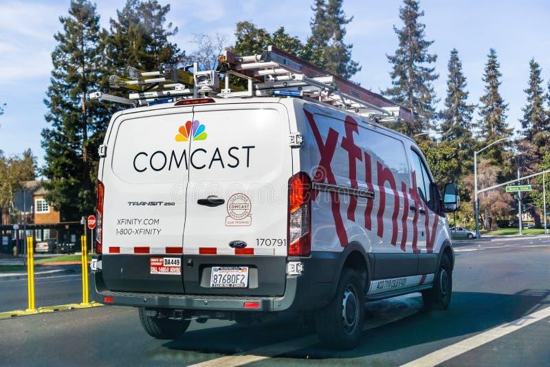 Furgone di servizio del cavo/Xfinity di Comcast fotografia stock
