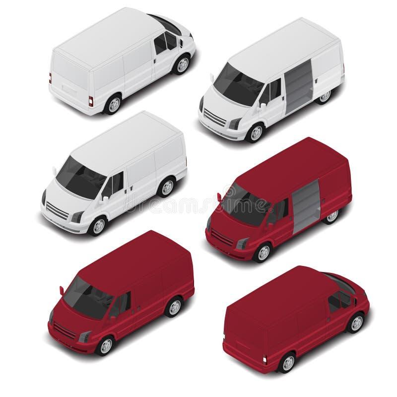 Furgone isometrico della città di alta qualità di vettore Icona di trasporto immagine stock