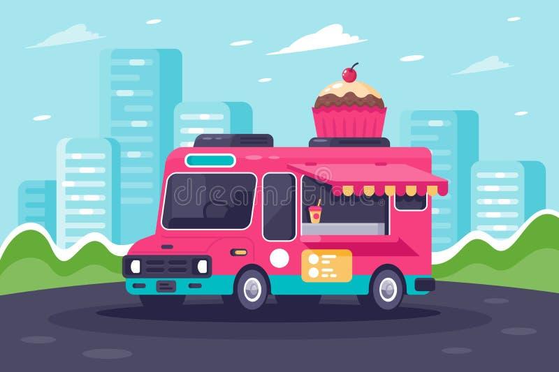 Furgone urbano piano con i dolci, il dolce ed il gelato illustrazione di stock