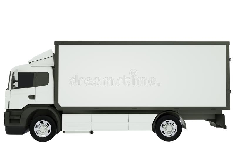 Furgoneta blanca del cami?n de reparto o del transporte aislada en el fondo blanco representaci?n 3d ilustración del vector