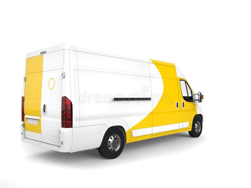 Furgoneta de entrega blanca y amarilla grande - ate la visión ilustración del vector