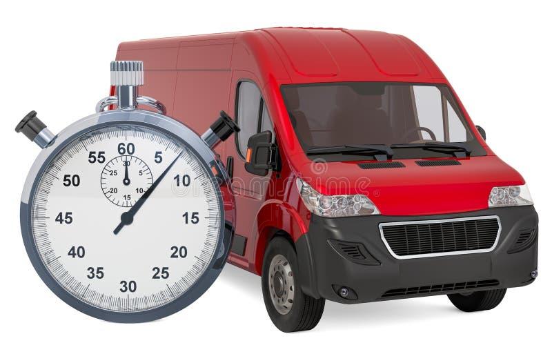 Furgoneta de entrega comercial con el cronómetro concepto r?pido de la entrega, representaci?n 3D ilustración del vector