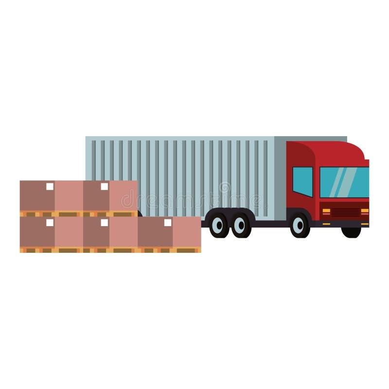 Furgoneta de entrega con las cajas y la mercancía ilustración del vector