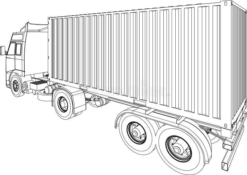 Furgoneta del envase del carro y del acoplado stock de ilustración