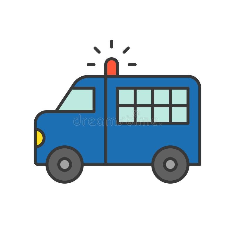 Furgoneta del transporte del preso, str editable del esquema del icono relacionado de la policía ilustración del vector