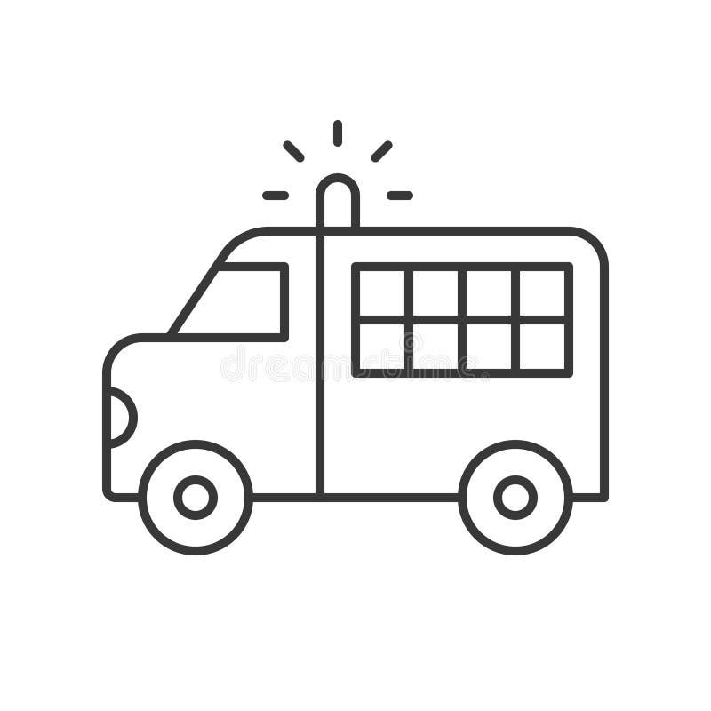 Furgoneta del transporte del preso, str editable del esquema del icono relacionado de la policía libre illustration