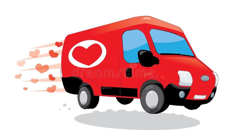Furgoneta divertida que entrega amor Tarjeta del día de San Valentín del santo y concepto del amor stock de ilustración