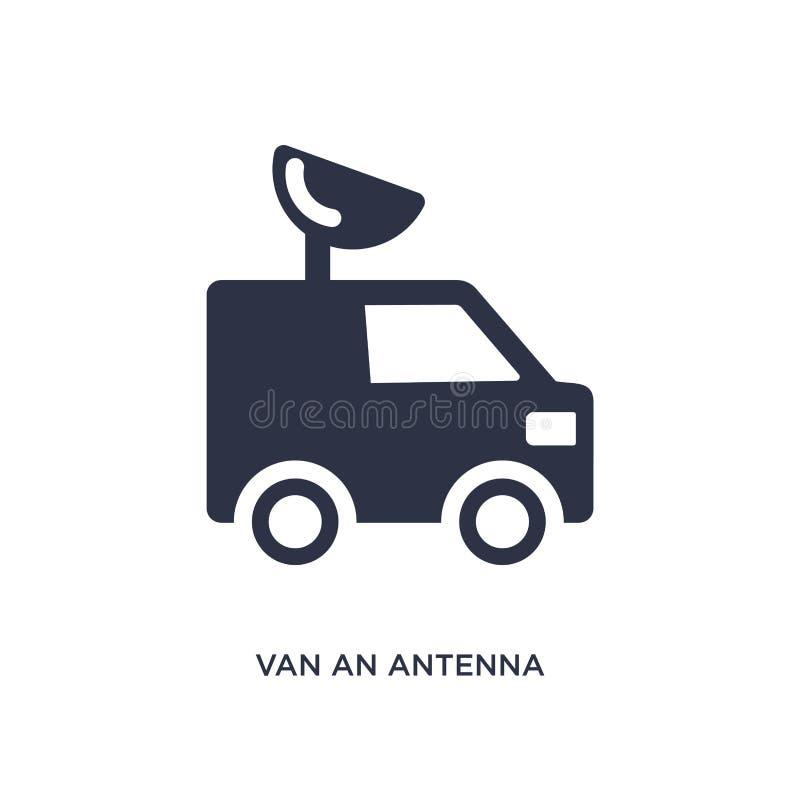 furgoneta un icono de la antena en el fondo blanco Ejemplo simple del elemento del concepto de los mechanicons ilustración del vector