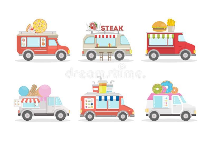 Furgonetas de la comida fijadas stock de ilustración