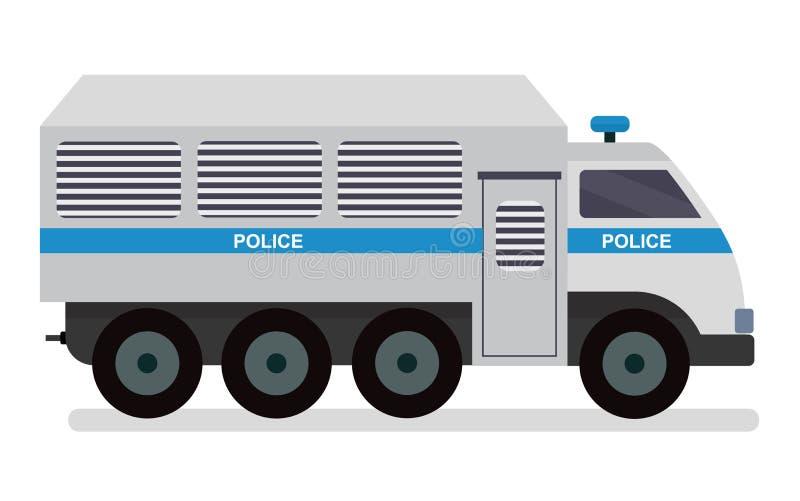 Furgonetka policyjna odtransportowywać więźniów Wektorowy kreskówki mieszkania desig royalty ilustracja