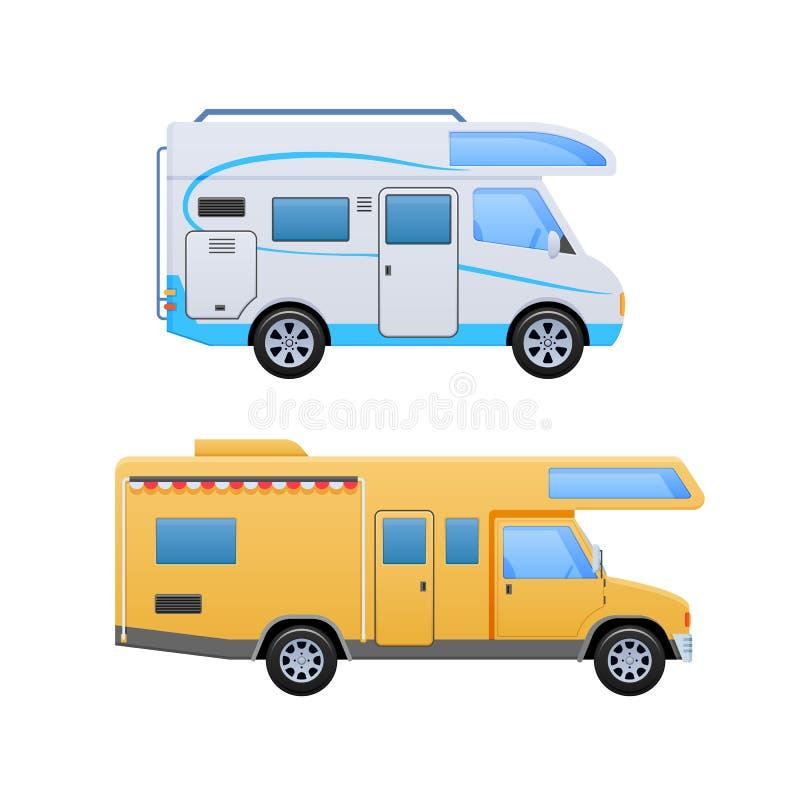 Furgoni, rimorchio del veicolo, accampantesi, famiglia che viaggia in macchina, case mobili royalty illustrazione gratis