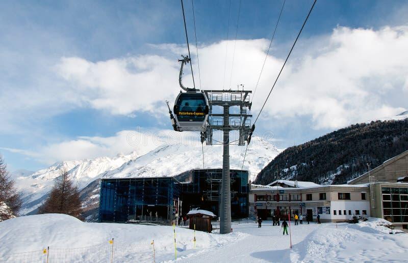 Furi Skistation in Zermatt Skiort stockbilder