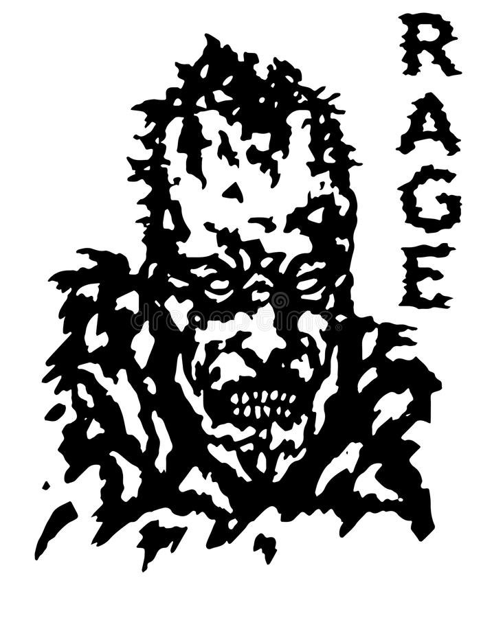 Furia żywego trupu twarzy plakat Odosobniona wektorowa ilustracja royalty ilustracja