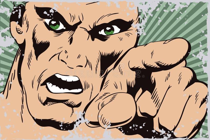 Furia mężczyzna krzyczeć ilustracji