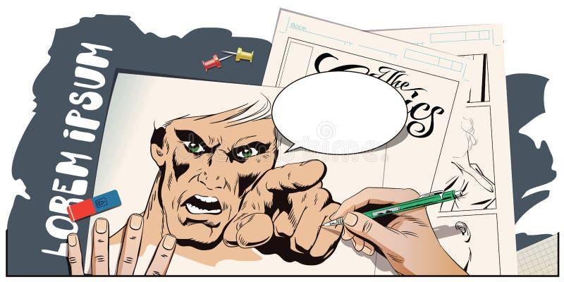 Furia mężczyzna krzyczeć Ręk farb obrazek ilustracji