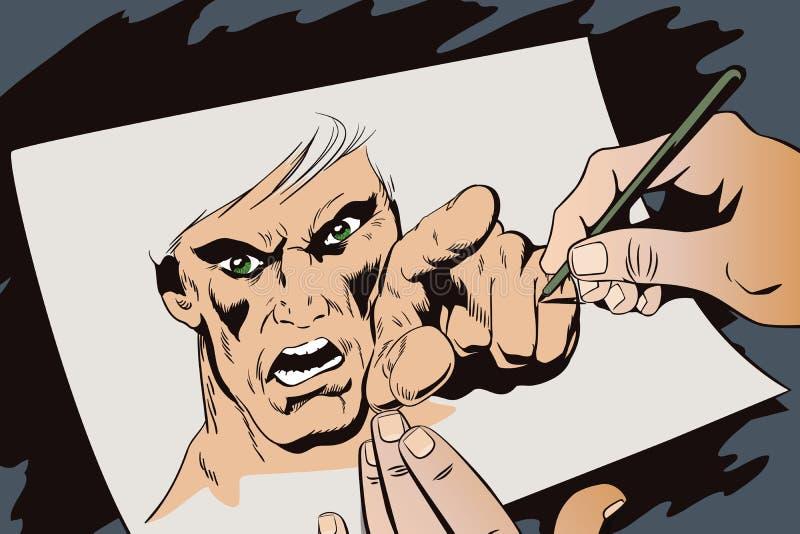 Furia mężczyzna krzyczeć Ręka remisów obrazek ilustracja wektor
