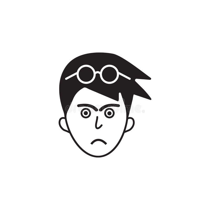 furia na twarzy ikonie Element ludzcy emocja elementy ilustracyjni Premii ilości graficznego projekta ikona Znaki i symbolu col ilustracja wektor