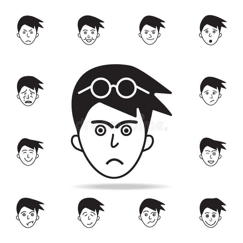 furia na twarzy ikonie Szczegółowy set twarzowe emocji ikony Premia graficzny projekt Jeden inkasowe ikony dla stron internetowyc ilustracja wektor