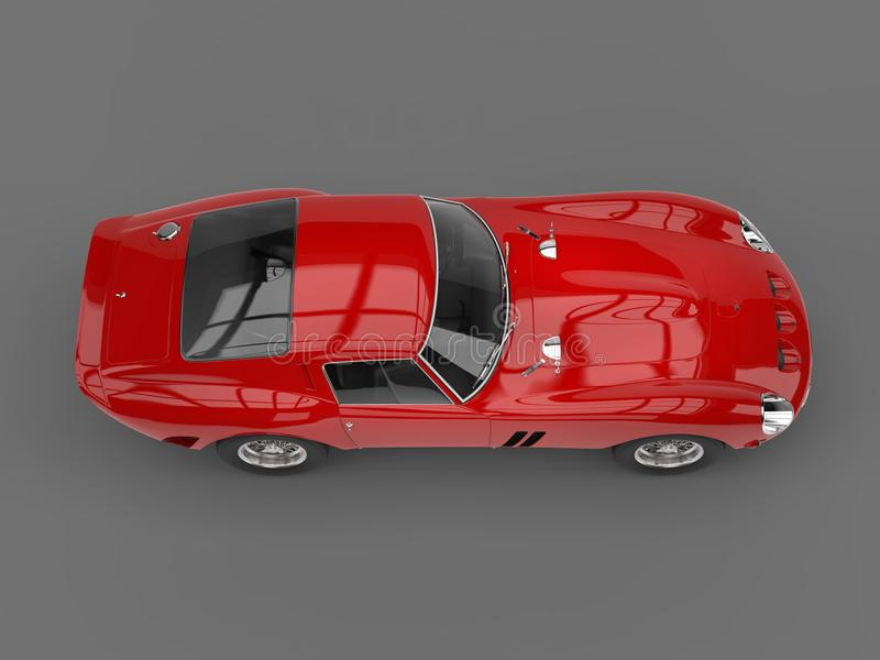 Furia rocznika czerwony samochód wyścigowy - boczny odgórny widok royalty ilustracja