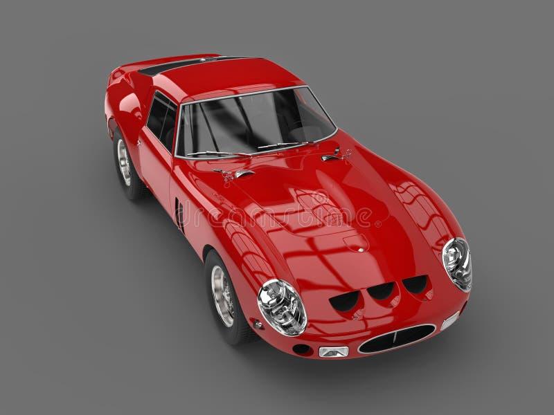 Furia rocznika czerwony samochód wyścigowy - wysoki kąta strzał royalty ilustracja