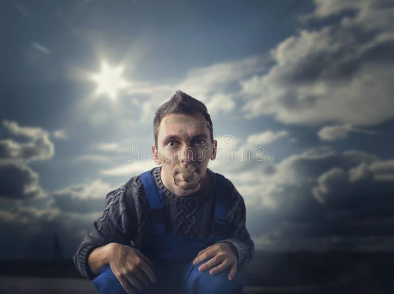 Furiat, usta pieczętujący z tynkiem, psychiczny pacjent obrazy stock