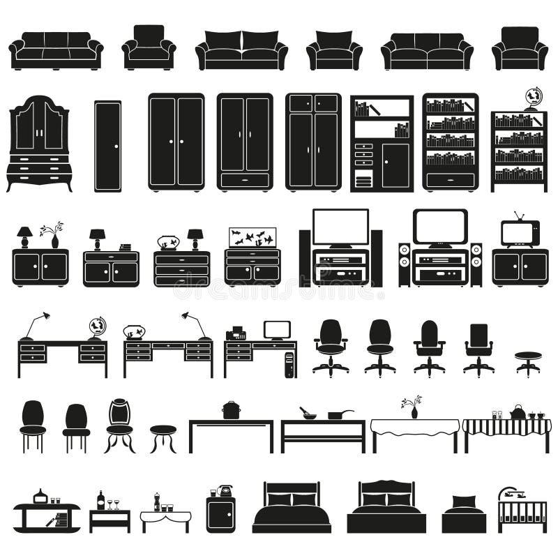 Furinture - geplaatste meubilairpictogrammen stock illustratie