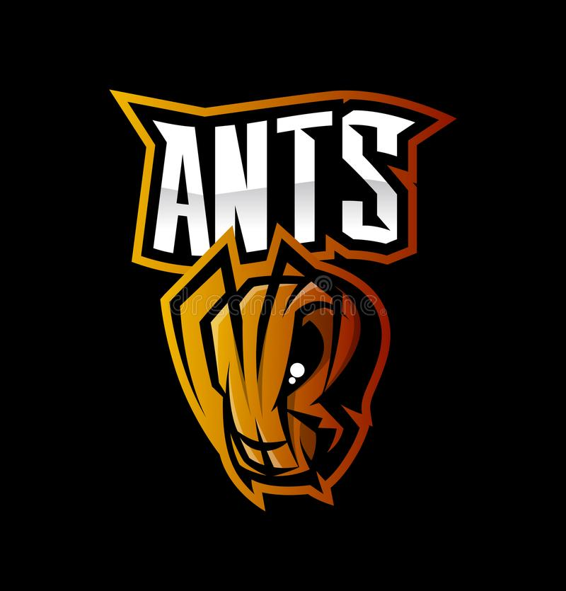 Furious ant sport vector logo concept isolated on black background. Modern professional team branding tee-shirt design royalty free illustration