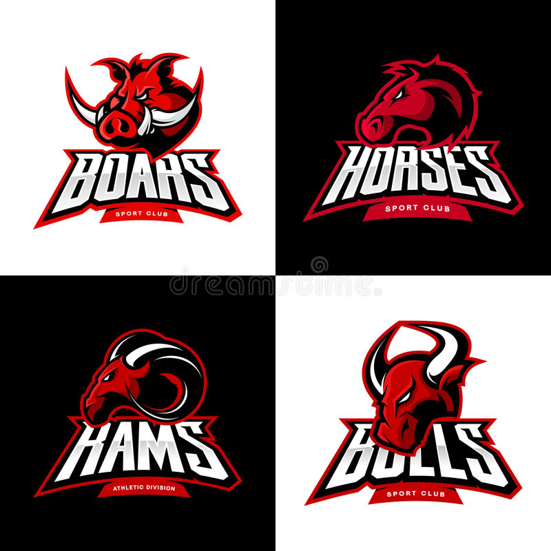 Furious boar, horse, ram, bull head isolated vector sport logo concept set. royalty free illustration
