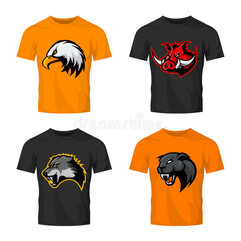 Furious boar, wolf, panther and eagle head sport vector logo concept set isolated on color t-shirt mockup. Modern team badge design. Premium quality wild stock illustration