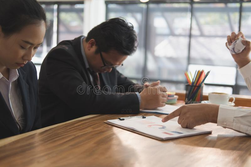 Furious boss scolding frustrated woman at office. irritated man. Furious boss scolding frustrated women at office. irritated men blames upset intern for failure royalty free stock photography