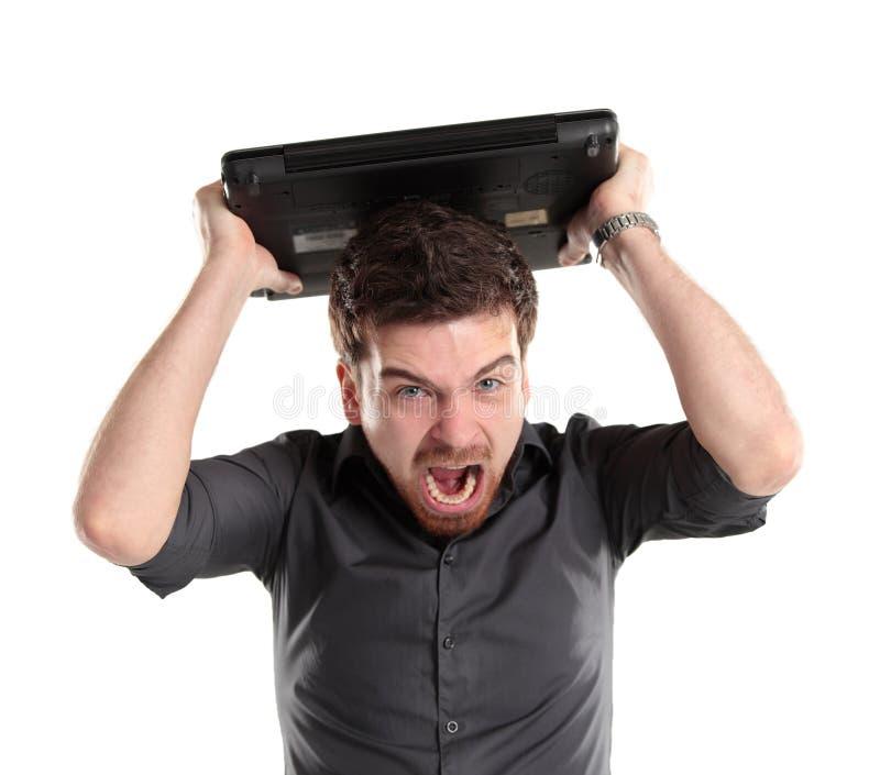 Download Furious Businessman Shouting At His Laptop Stock Image - Image: 30414791