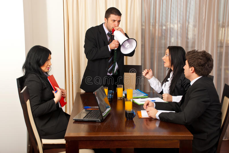 Download Furious Chief  Shouting In Megaphone Stock Photo - Image: 18343762