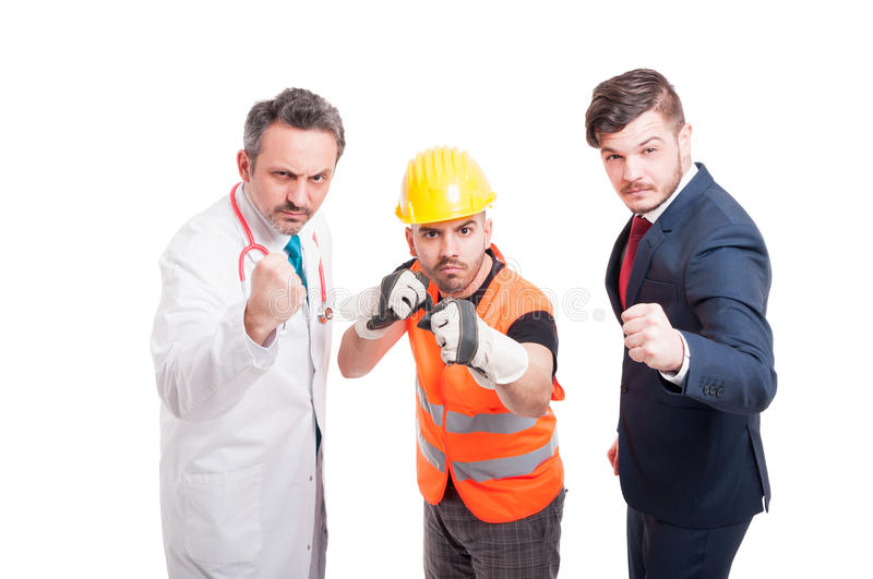 Furious group of men being prepared for battle. Or figh and doing punch gesture isolated on white stock photo