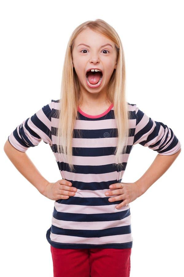 Furious little girl. royalty free stock photos