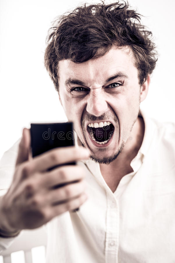 Furious man stock image