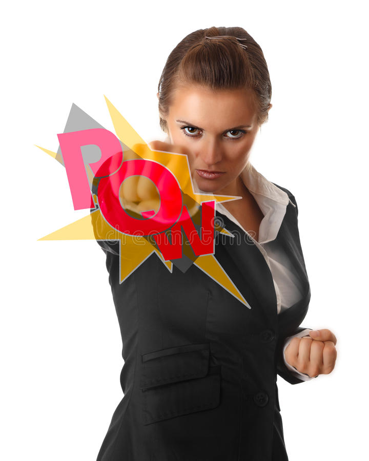 Furious modern business woman punching. Isolated on white background stock image