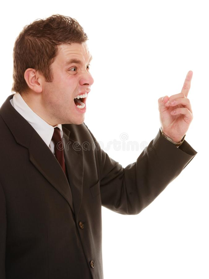 Furious teacher or business man shaking finger. Angry mad businessman boss. Furious teacher man shaking finger in scolding way, isolated on white. Stress in work stock photo
