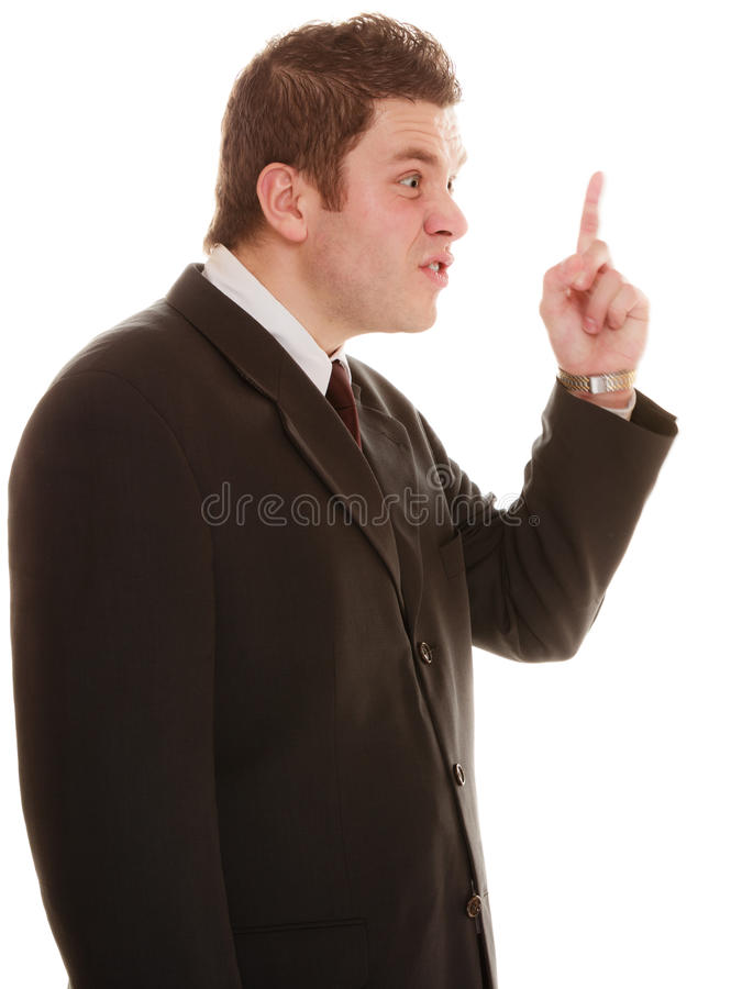 Furious teacher or business man shaking finger. Angry mad businessman boss. Furious teacher man shaking finger in scolding way, isolated on white. Stress in work royalty free stock image