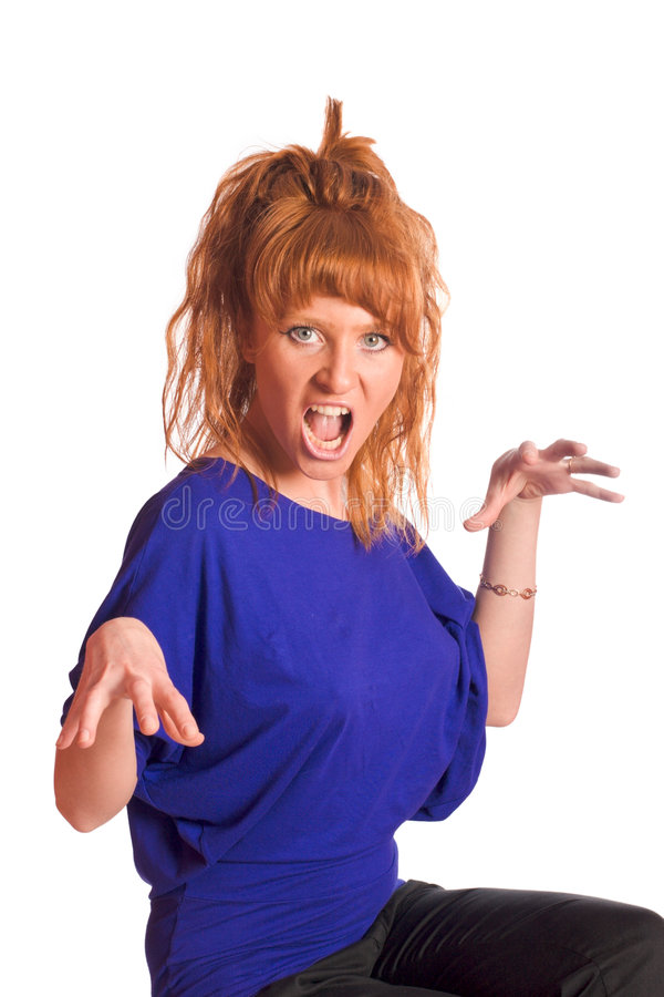 Furious woman. Shocked furious redhead woman isolated stock photos