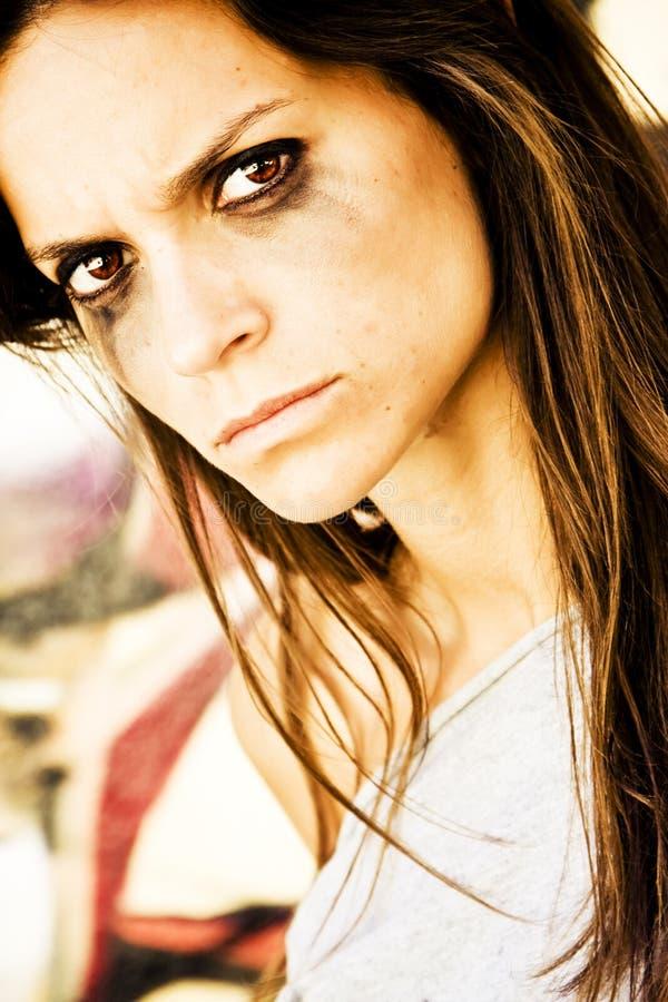 Furious woman. Portrait staring at camera royalty free stock photos
